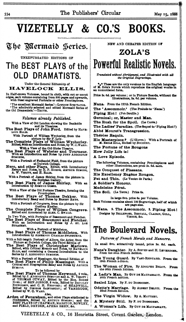 Advertisement for the Viztelly original editions of the Mermaid Series, The Publishers' Circular and General Record of British and Foreign Literature, Volume 51, 1888.