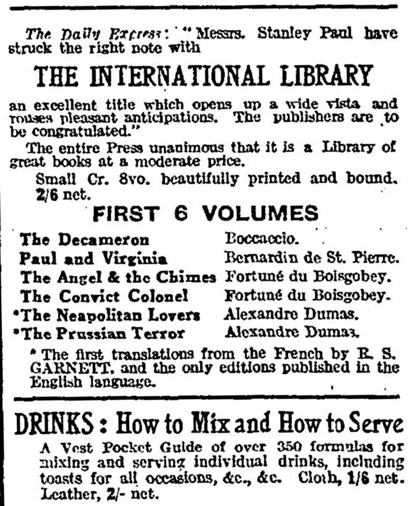 Advertisement for the new International Library. The Times (London, England), Friday, Dec 14, 1923; pg. 9