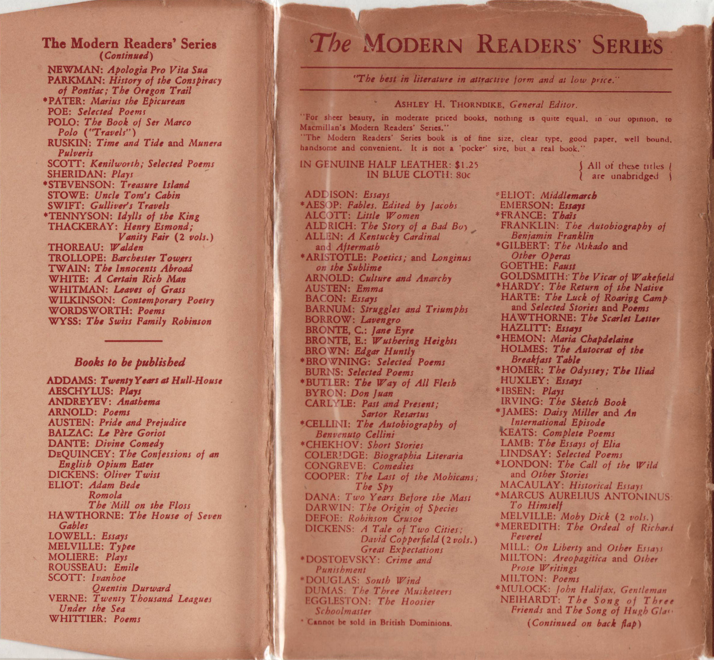 modern readers series a series of series in 1928 certain titles were issued in a new larger format a different jacket and binding design this is sometimes referred to as the new modern