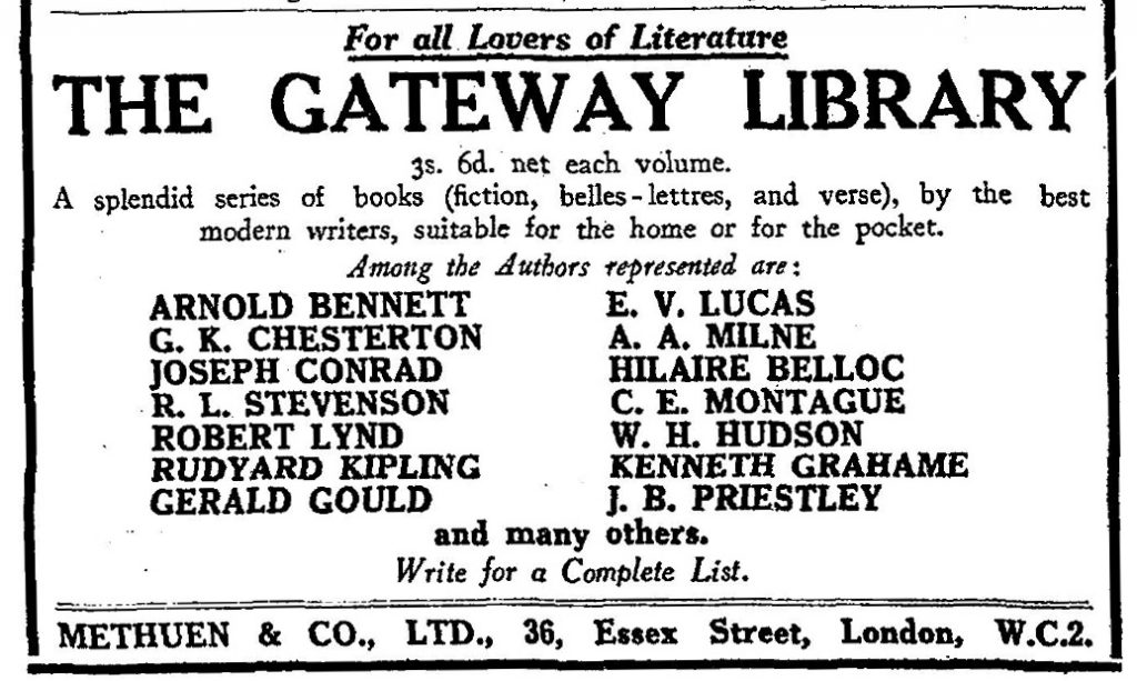 Ad for Methuen's Gateway Library from The Times (London, England), Friday, May 17, 1929; pg. 19.